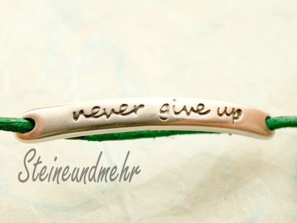 """Never give up"" 43mm, Mittelteil,Verbinder, Metall versilbert #2038"