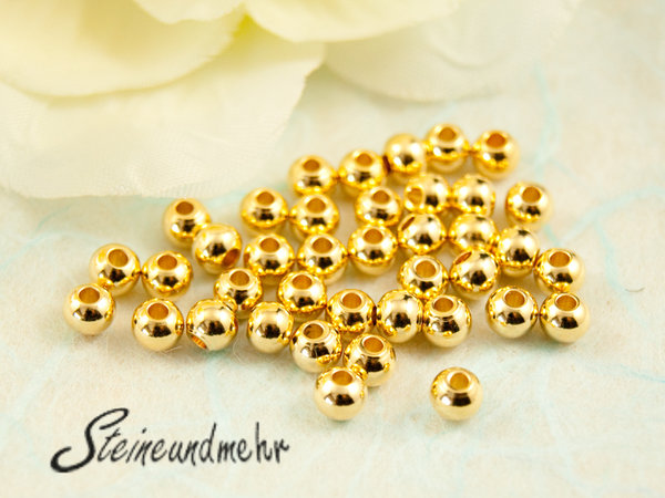 25x Metallperlen Gold  3mm #1705