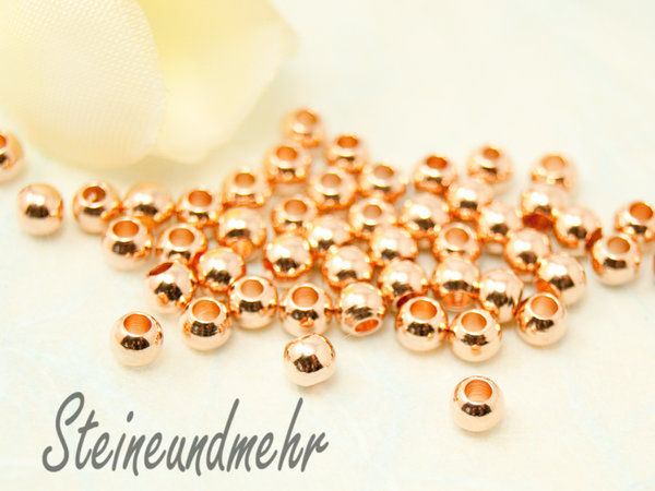 25x Metallperlen Rosegold 3mm #1727